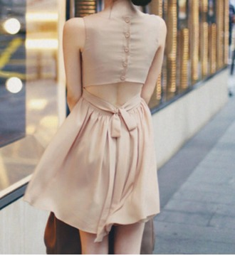 dress nude dress tea dress mini dress tie back dress