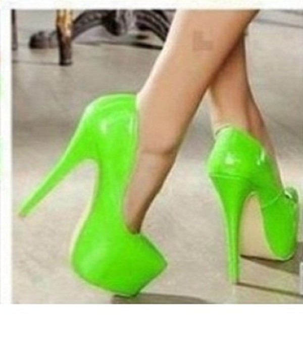shoes neon lime high heels