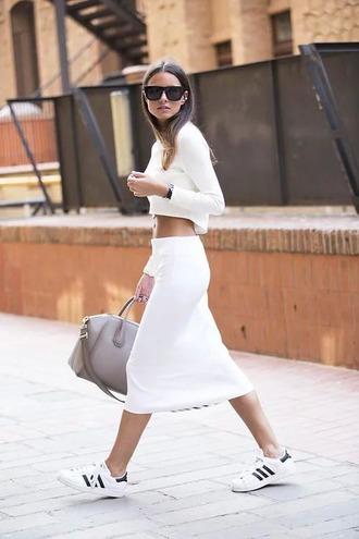 skirt top midi skirt all white outfit all white everything white crop tops crop tops white skirt bag givenchy bag givenchy sneakers white sneakers adidas adidas superstars sunglasses black sunglasses