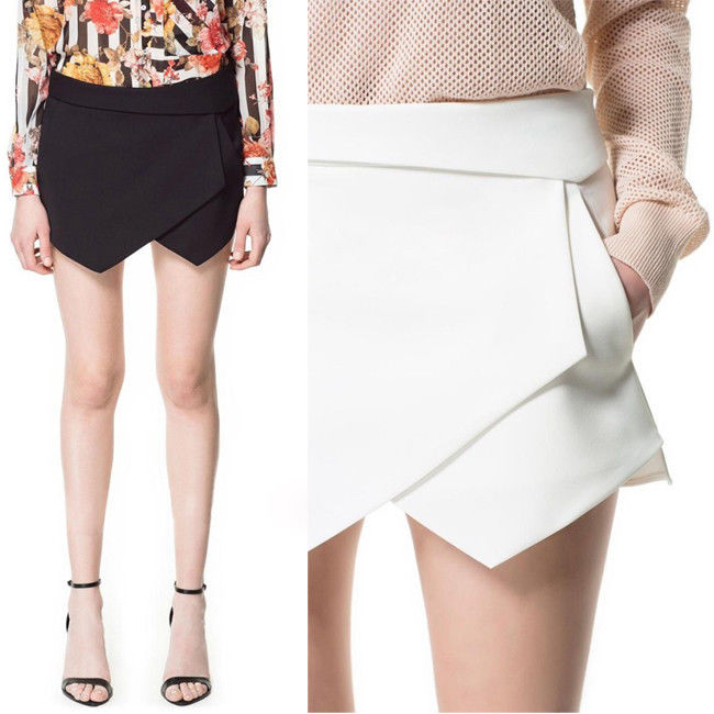 Women Asymmetric Tiered Culottes Shorts with Invisible Zipper Bloggers Fav O   eBay
