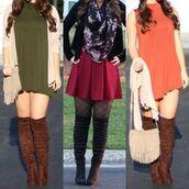 shoes,brown thigh high boots,brown over the knee boots,thigh high boots,thigh highs,over the knee boots,olive green,forest,beige,cardigan,western,fringes,floral,scarf,burgundy,skater,skirt,skater skirt,burgundy skater skirt,plaid tights,tights,plaid,orange,rust,shift dress,dress,swing dress,turtleneck,fringed bag
