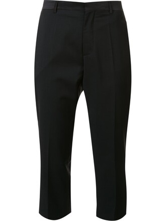 cropped women black wool pants