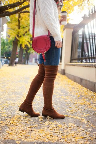 wit&whimsy blogger shoes sweater fall outfits crossbody bag thigh high boots brown boots bag flat boots red bag white sweater