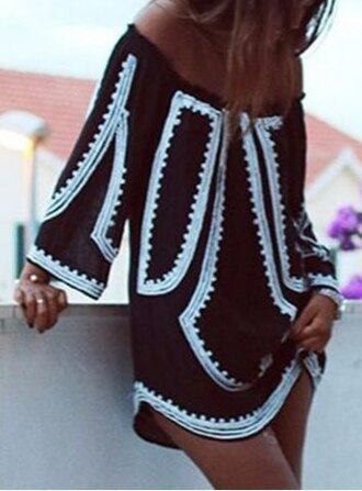 dress white black fashion style girly cute off the shoulder
