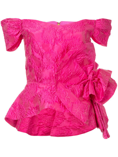 Bambah top peplum top women silk purple pink