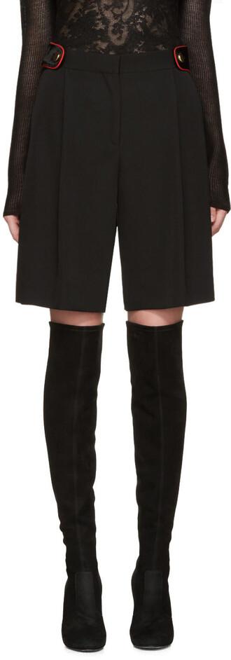 shorts black wool