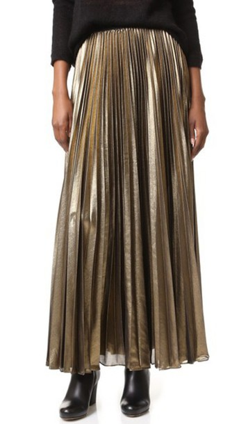 Bcbgmaxazria Pleated Maxi Skirt - Black Gold - Wheretoget