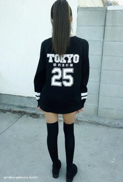 sweater black shirt japan quote on it graphic tee black t-shirt long sleeves shirt tokyo 25 black sweater
