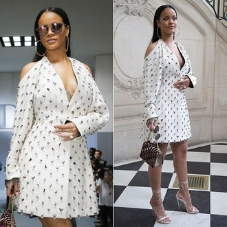 shoes sandals dress rihanna embellished paris fashion week 2016 sunglasses