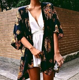 dress pale white jumpsuit romper silk shorts simple basic kimono tigers print black fierce nicole richie fiftyfootfashionista jacket