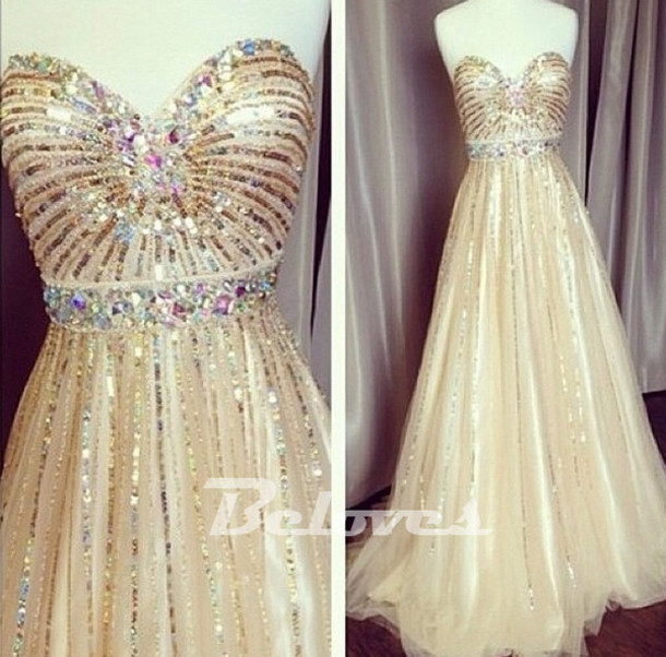 dress champagne a line prom dress sweetheart sequined dresses