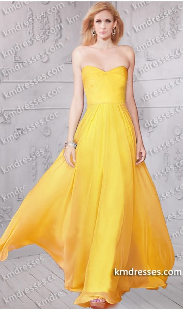 Glamourous strapless sweetheart ruched bodice chiffon dresses inspired by taylor swift