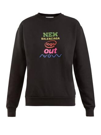 sweatshirt cotton print black sweater
