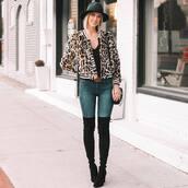 coat,bomber jacket,jacket,leopard print,jeans,black boots,over the knee,faux fur jacket