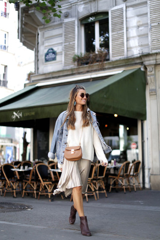 b a r t a b a c blogger shoes sweater skirt jacket bag jewels sunglasses denim jacket white top white sweater silver skirt burgundy ankle boots round sunglasses shoulder bag