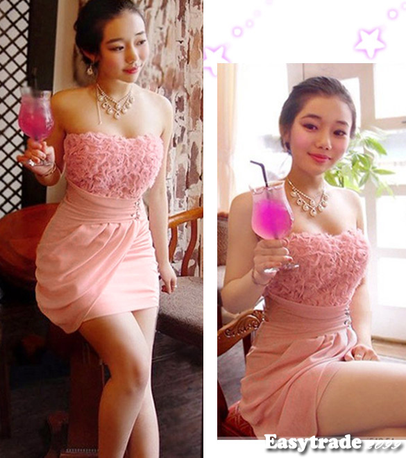 Sexy Hot Pink Strapless Clothing Clubwear Lace Satins Party Dress M ~ XL ESY1 | eBay