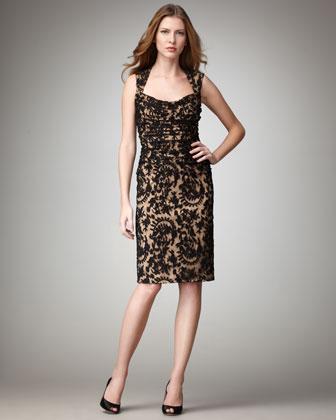 Sleeve printed lace dress