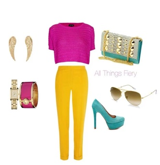 shirt clothes pants sweater high heels jewelry clutch bag pink yellow cuffs blue bright outfit summer style fashion trendy gold chain link bag jewels shoes