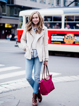 a cup of style blogger jeans pink bag longchamp striped shirt perfecto suede jacket brown combat boots