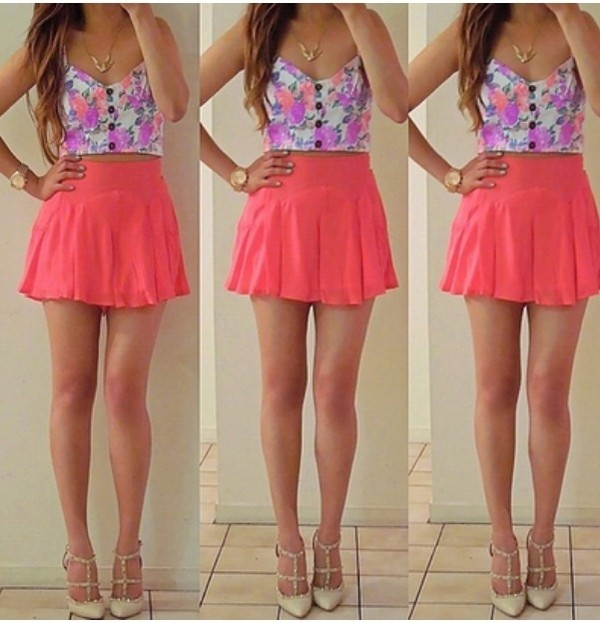 dress shoes skirt jewels shirt cute girly summer pink flowers brunette hipster swag swag cute dress casual style female follow me! casual dress fucsia tank top floral floral bustier bustier crop tops top summer outfits crop tops summer outfits skater skirt floral crop top