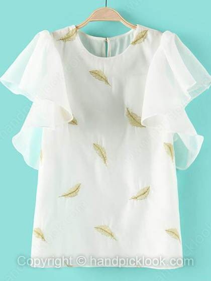 White Scoop Sleeveless Embroidery Chiffon Blouse - HandpickLook.com