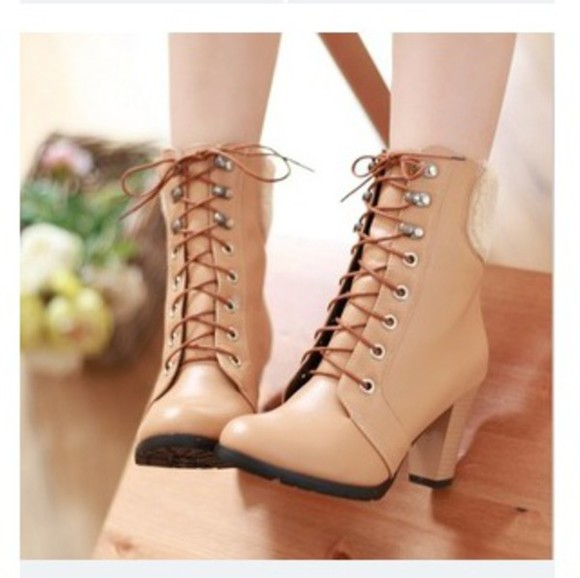 cute beige cream shoes boots brown leather boots want them