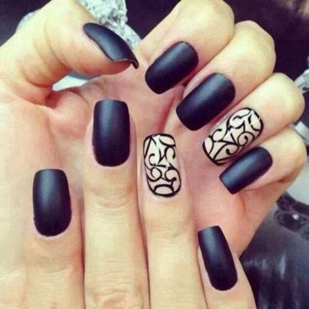Nail Design With Black Polish : Nail polish matte nails finger