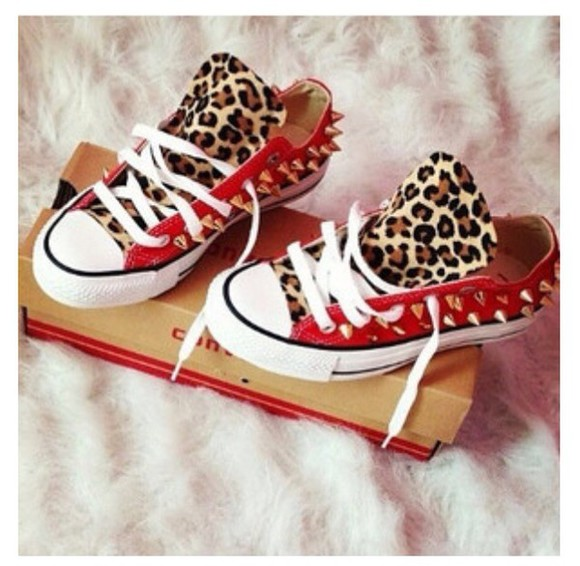 shoes leopard print converse
