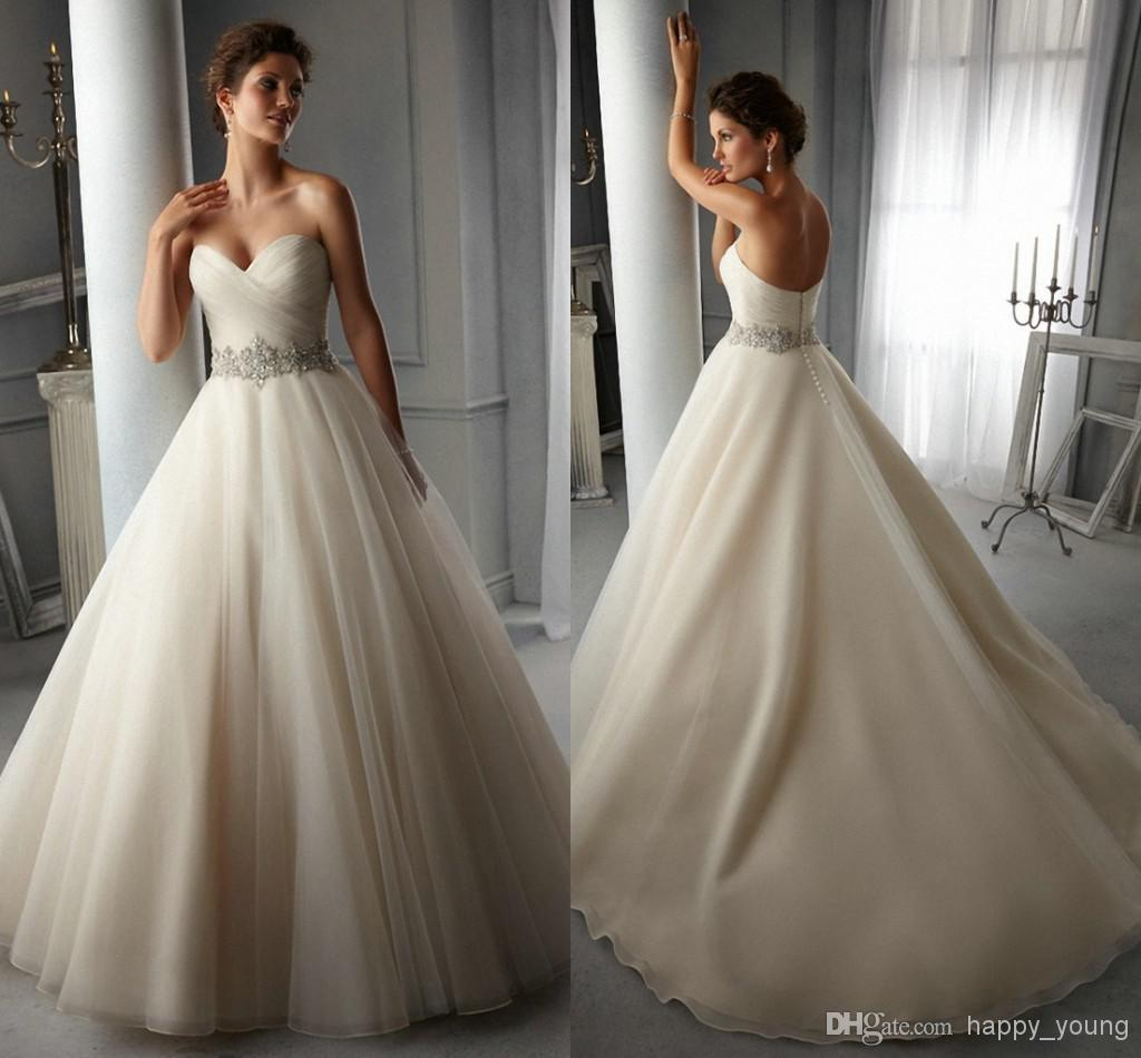 Sexy Pleated Sweetheart Rhinestone Belt Open Back Princess A-Line Wedding Dresses | Buy Wholesale On Line Direct from China