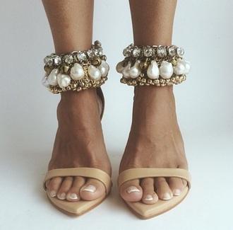 shoes heels pearl heels ankle strap heels camel pearl classy