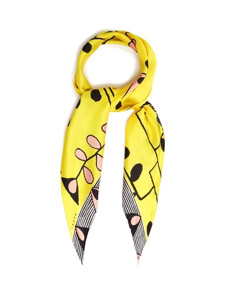 MARNI scarf silk scarf print silk yellow