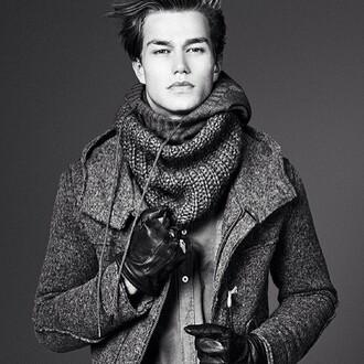 coat winter coat duffle coat scarf mens coat grey