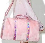bag,pink furry holographic bag,pink holographic fur bag