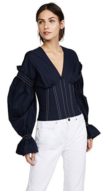 Jonathan Simkhai blouse v neck cotton top