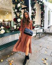 dress,midi dress,long sleeve dress,polka dots,slit dress,crossbody bag,ankle boots,black boots