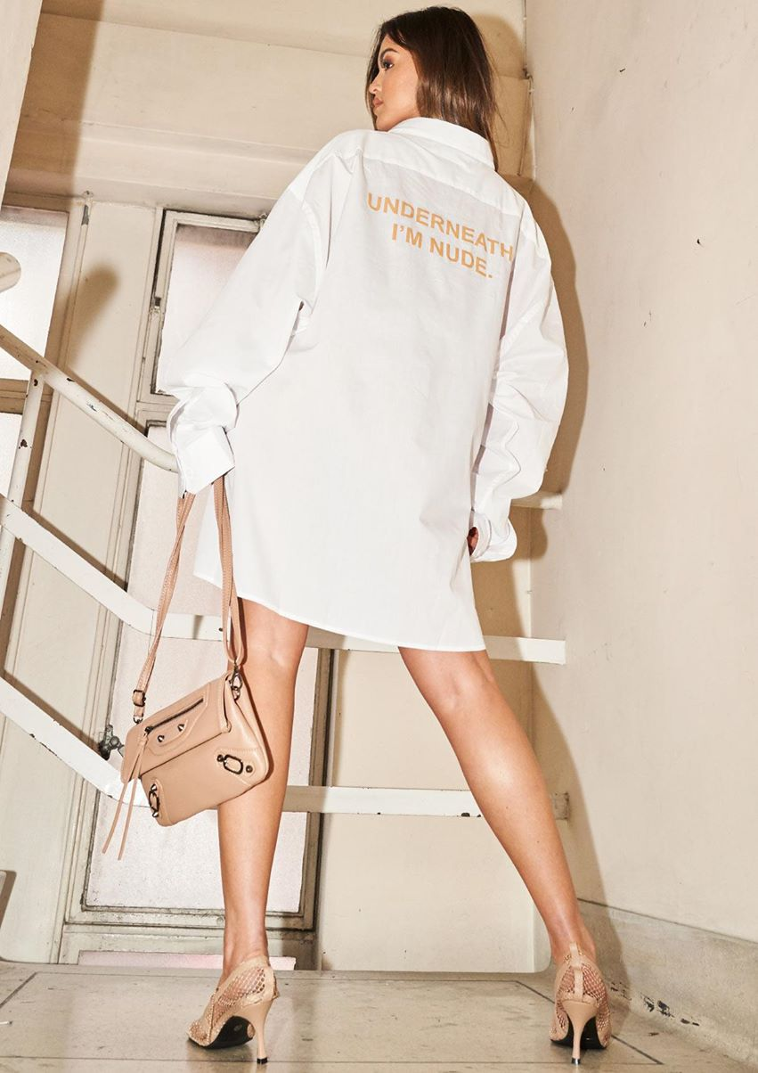 Abigail White Oversized Slogan Shirt