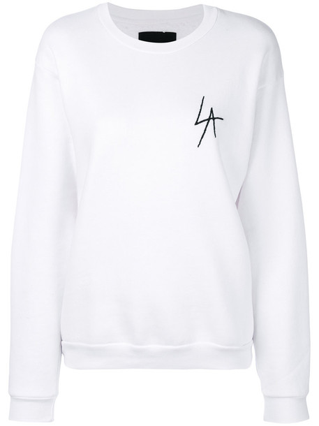 sweatshirt embroidered women white cotton sweater