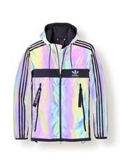 jacket,adidas,neon,heritage,adidas originals,sportswear,streetwear,holographic,holographic jacket,iridescent,adidas jacket,windbreaker,holographic windbreaker,adidas holographic,coat