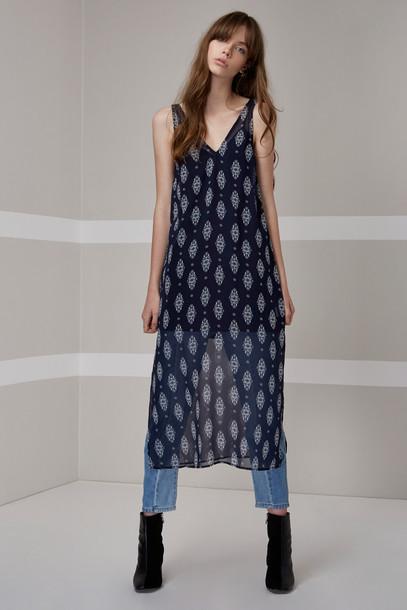 The fifth dress midi dress midi floral navy print