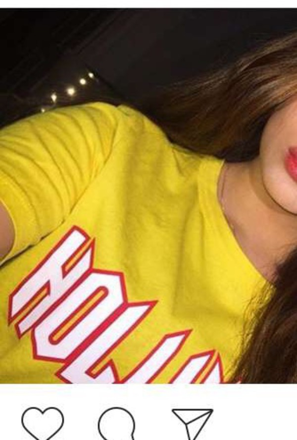 top yellow hollywood shirt t-shirt red quote on it