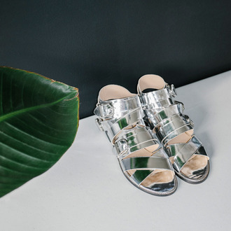 shoes sandals flat sandals silver sandals metallic shoes