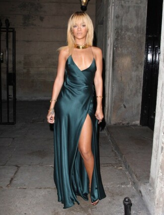 dress rihanna green dress wrap dress maxi dress