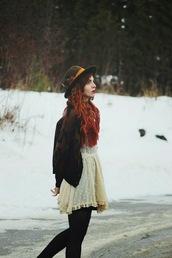 secret garden,blogger,cardigan,hat,lace dress,winter outfits,dress