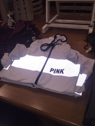 jacket coat victoria's secret pink by victorias secret glow in the dark sweater windbreaker white whitejacket pink white windbreaker victoria secret reflective jacket cute tumblr outfit tumblr girl t-shirt style shirt