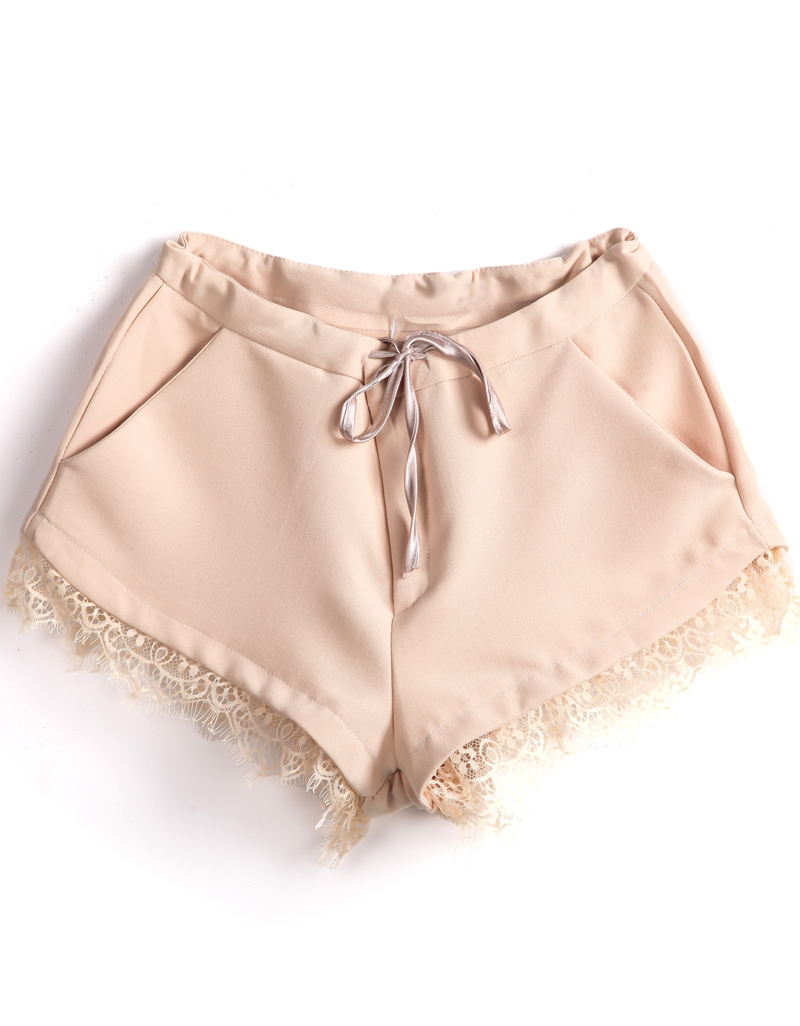 Apricot Drawstring Waist Pockets Lace Shorts - Sheinside.com