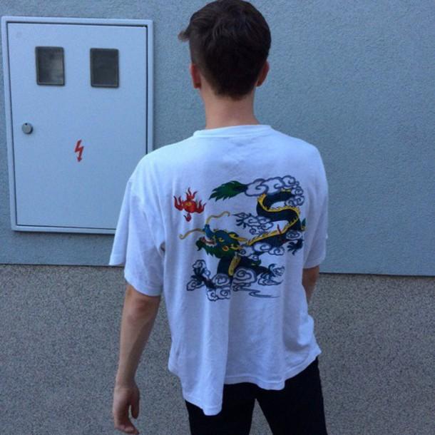 top white t-shirt dragons chinese dragon
