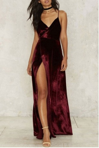 dress girl girly girly wishlist maxi maxi dress velvet velvet dress side split red red dress side split maxi dress slit dress red velvet dress prom dress sexy prom dress evening dress long evening dress evening outfits formal dress formal event outfit