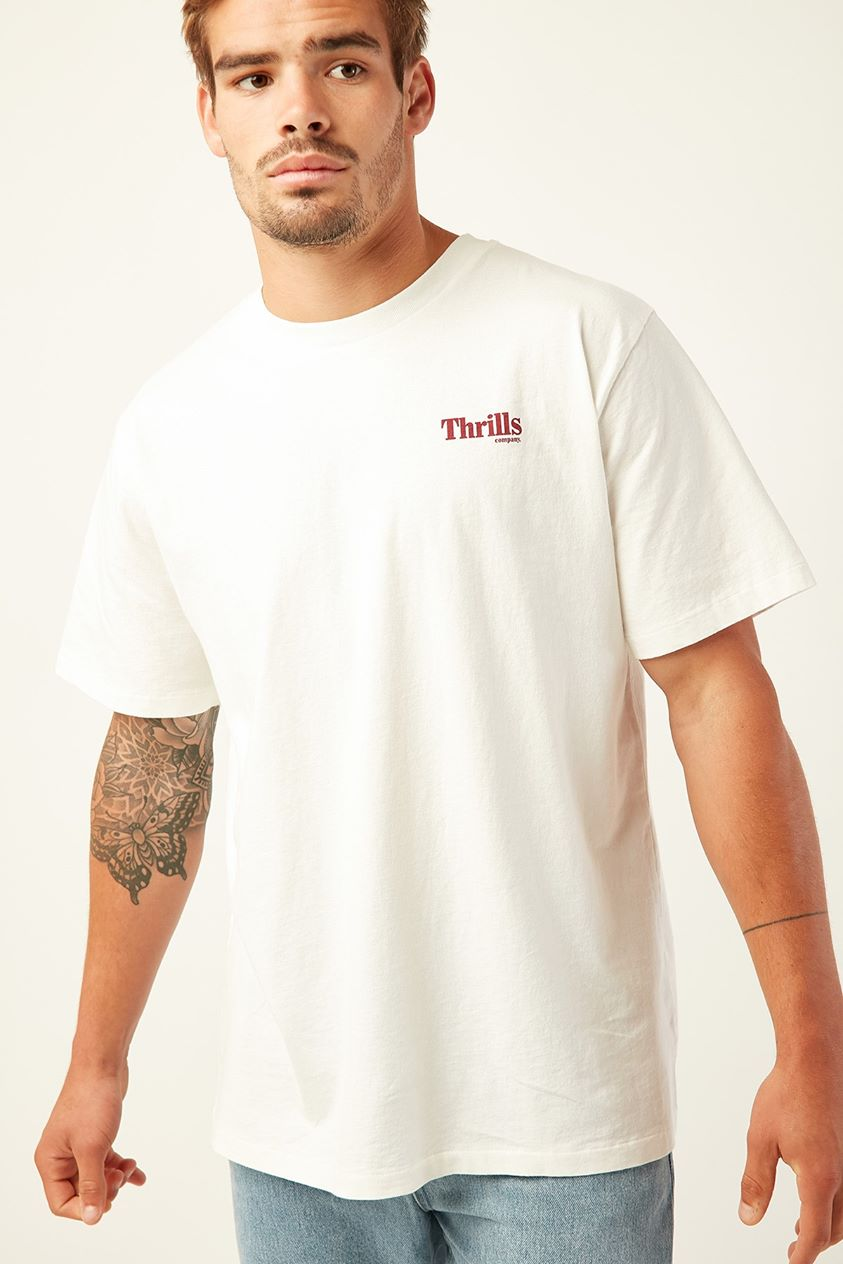 Thrills Cycles & Clothing Merch Fit Tee Dirty White