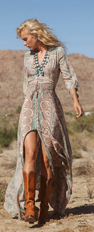 dress gypsy chic boho boho chic fashion hippie boots countrydress hippy dress boheme style country style country look
