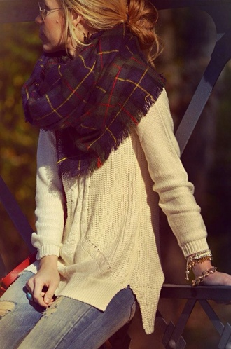 scarf sweater flannel scarf plaid crossed amazing fall outfits plaid scarves